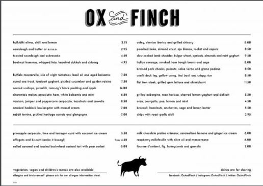 ox and finch menu restaurant glasgow